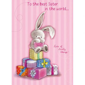"SISTER BIRTHDAY CARD ""CUTE BUNNY WITH PRESENTS DESIGN"" SIZE 7"" x 5""  RNHH 0075"
